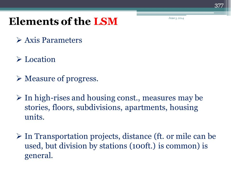 Elements of the LSM Axis Parameters Location Measure of progress.