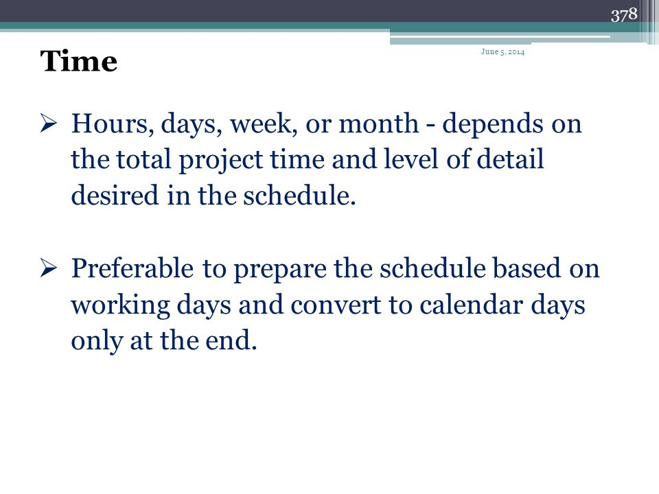 Time April 1, 2017. Hours, days, week, or month - depends on the total project time and level of detail desired in the schedule.