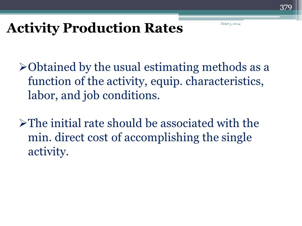 Activity Production Rates