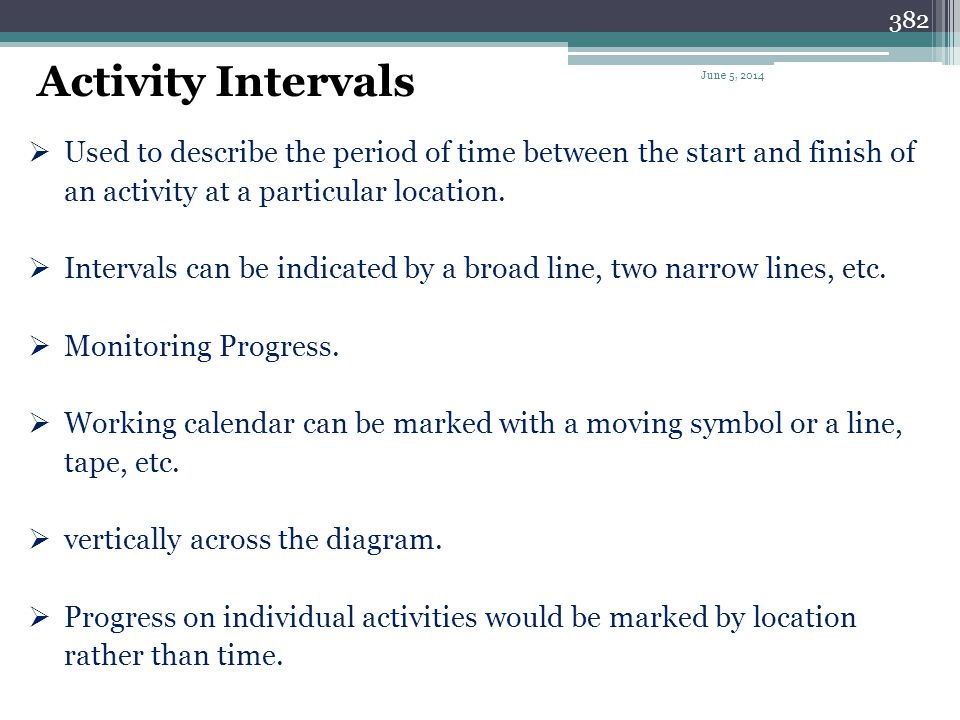 Activity Intervals April 1, 2017. Used to describe the period of time between the start and finish of an activity at a particular location.
