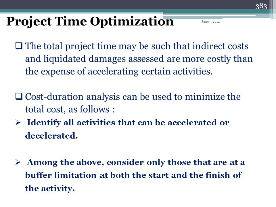 Project Time Optimization
