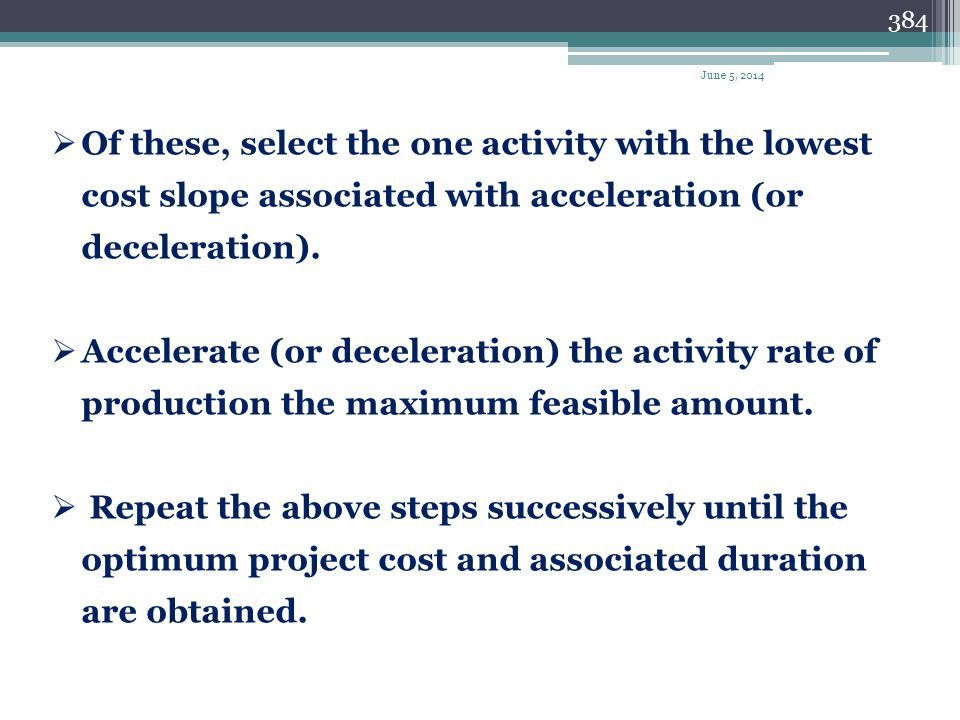April 1, 2017 Of these, select the one activity with the lowest cost slope associated with acceleration (or deceleration).