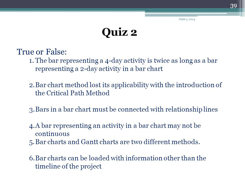 April 1, 2017 Quiz 2. True or False: The bar representing a 4-day activity is twice as long as a bar representing a 2-day activity in a bar chart.