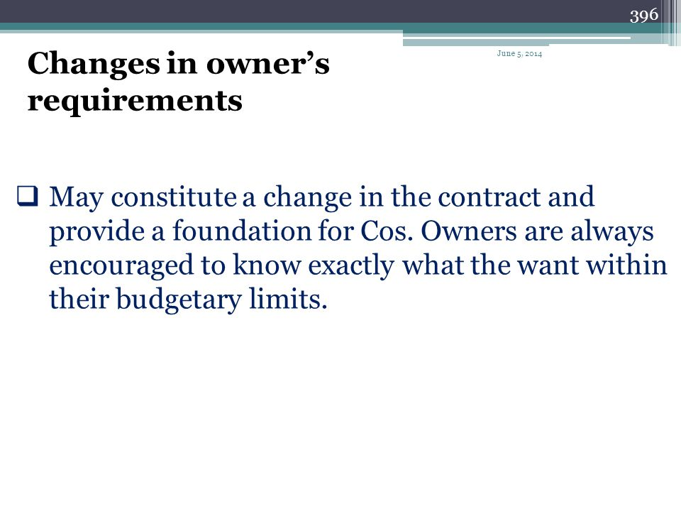 Changes in owner's requirements