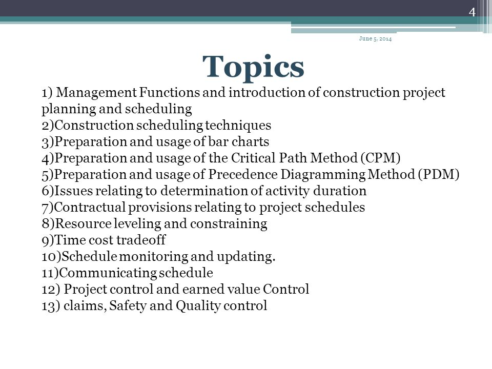 April 1, 2017 Topics. 1) Management Functions and introduction of construction project planning and scheduling.
