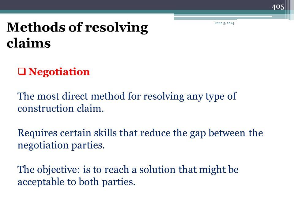 Methods of resolving claims