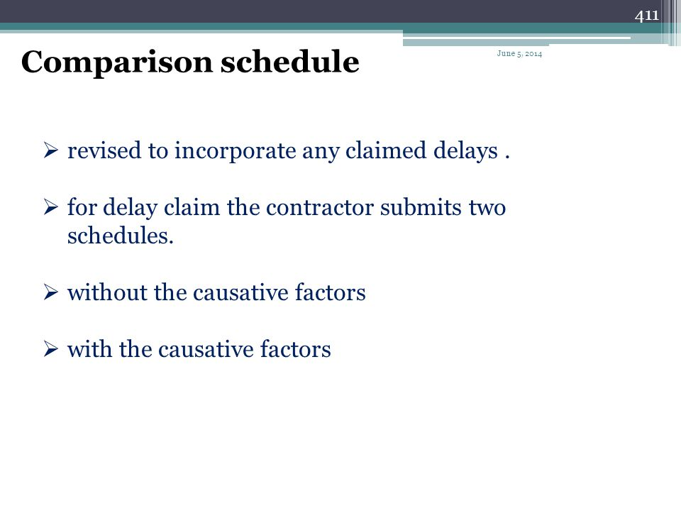Comparison schedule revised to incorporate any claimed delays .
