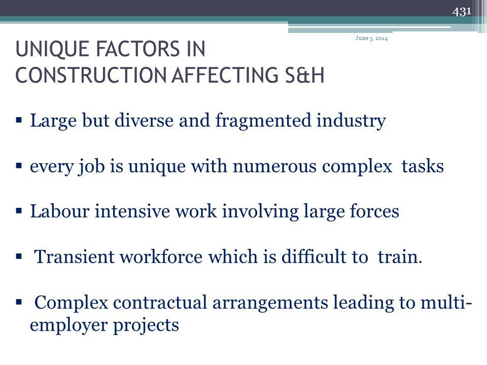 UNIQUE FACTORS IN CONSTRUCTION AFFECTING S&H