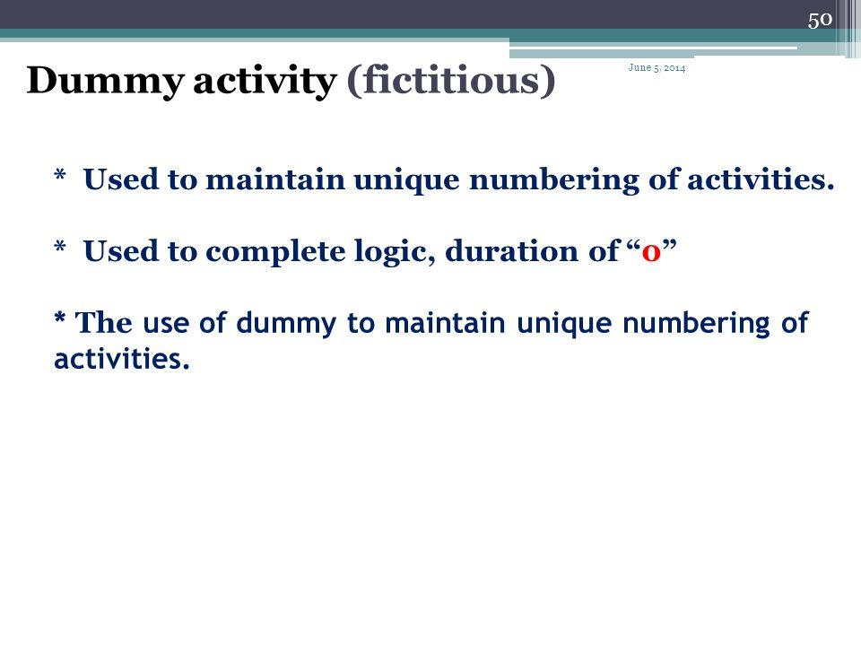 Dummy activity (fictitious)