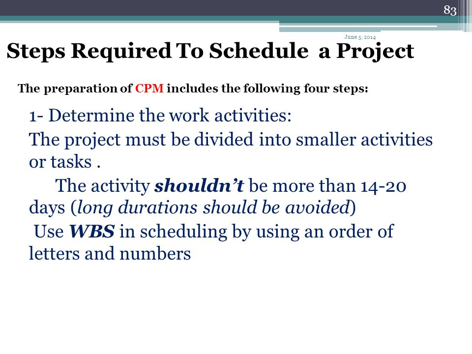 Steps Required To Schedule a Project