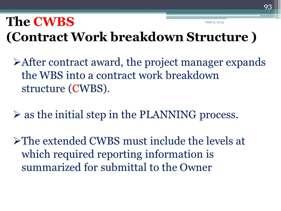 The CWBS (Contract Work breakdown Structure )