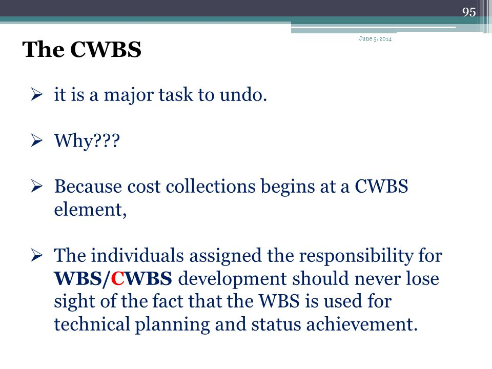 The CWBS it is a major task to undo. Why