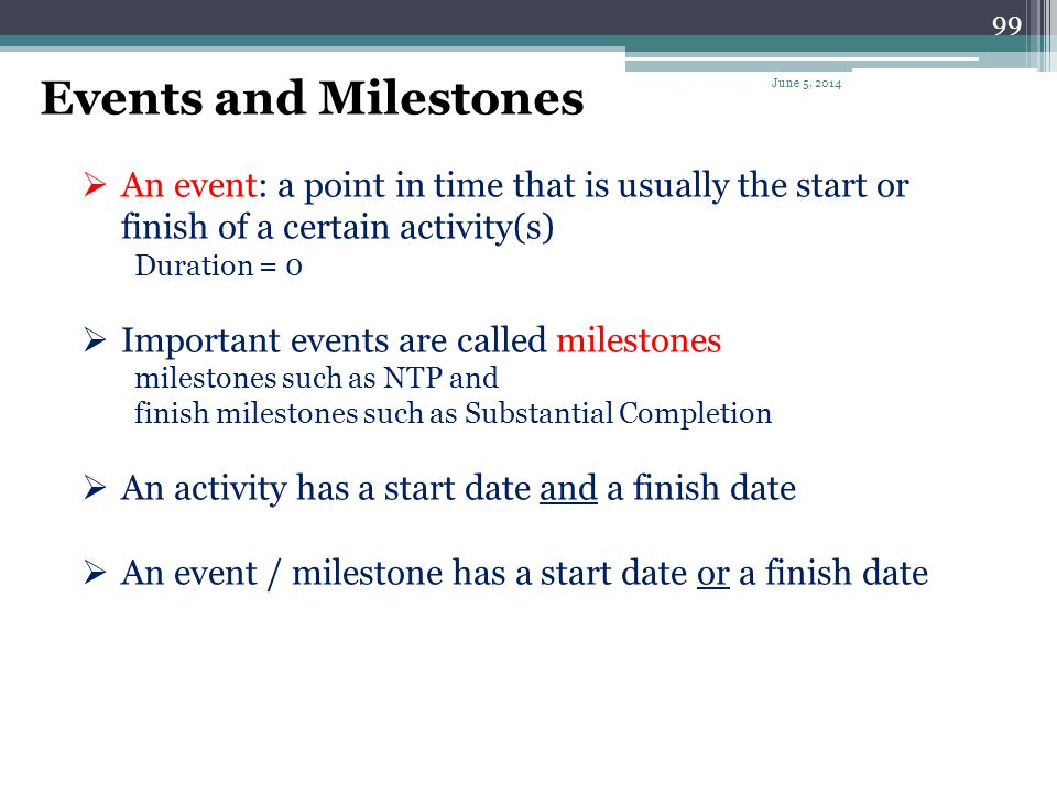 Events and Milestones April 1, 2017. An event: a point in time that is usually the start or finish of a certain activity(s)