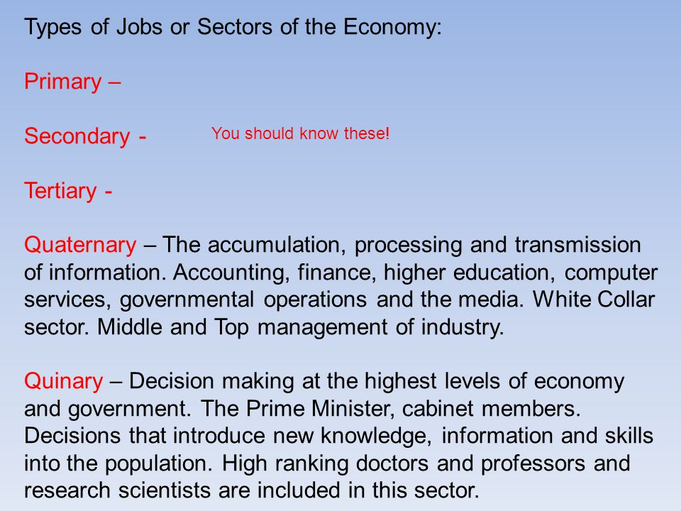 Types of Jobs or Sectors of the Economy: Primary – Secondary -