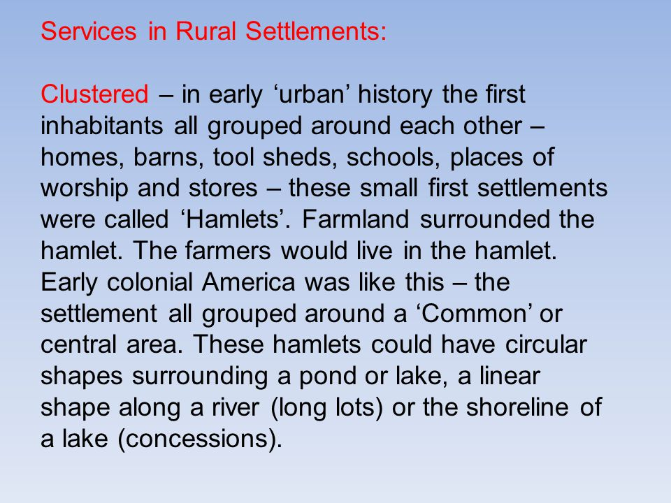 Services in Rural Settlements:
