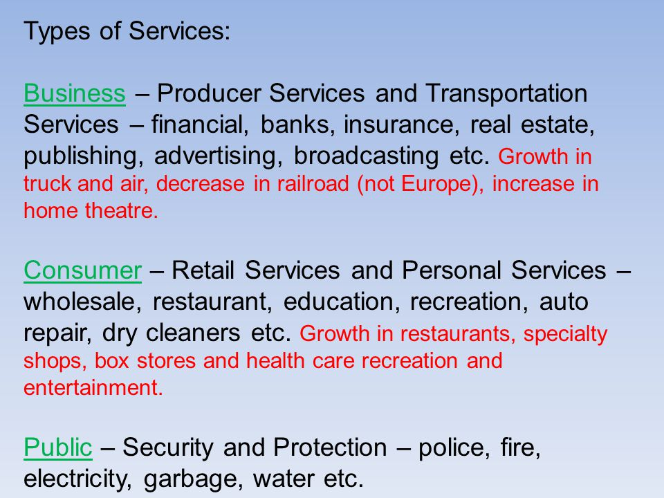 Types of Services: