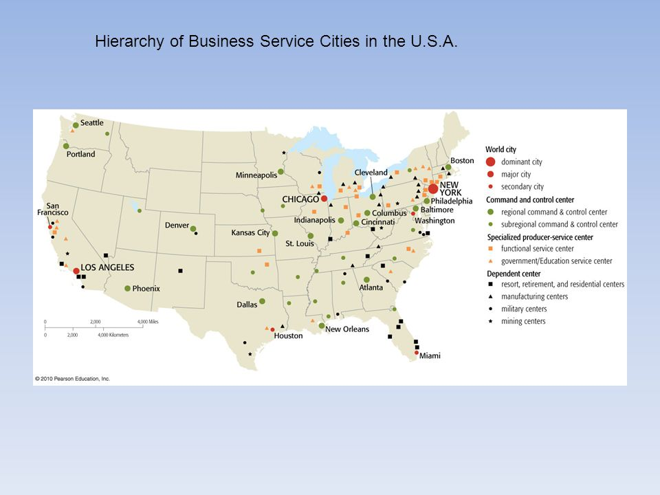 Hierarchy of Business Service Cities in the U.S.A.