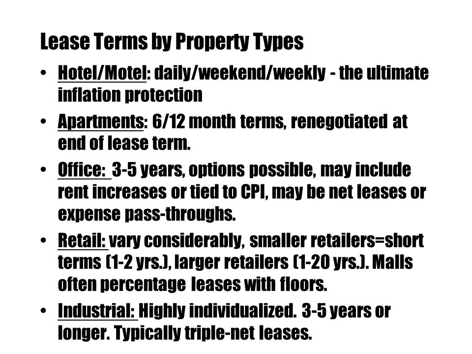 Lease Terms by Property Types