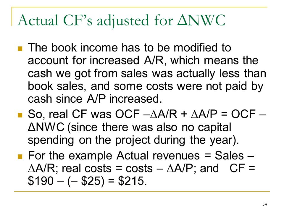 Actual CF's adjusted for ΔNWC