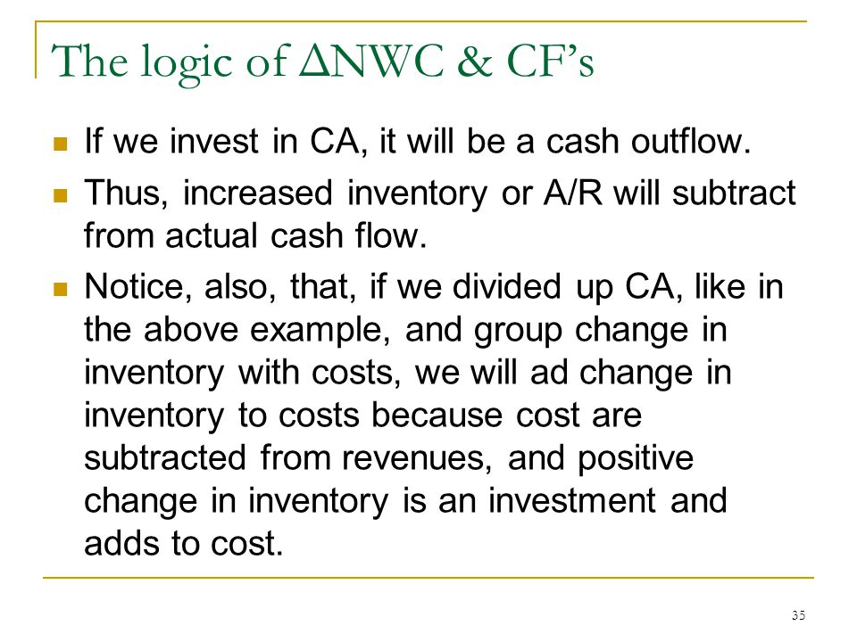 The logic of ΔNWC & CF's If we invest in CA, it will be a cash outflow. Thus, increased inventory or A/R will subtract from actual cash flow.
