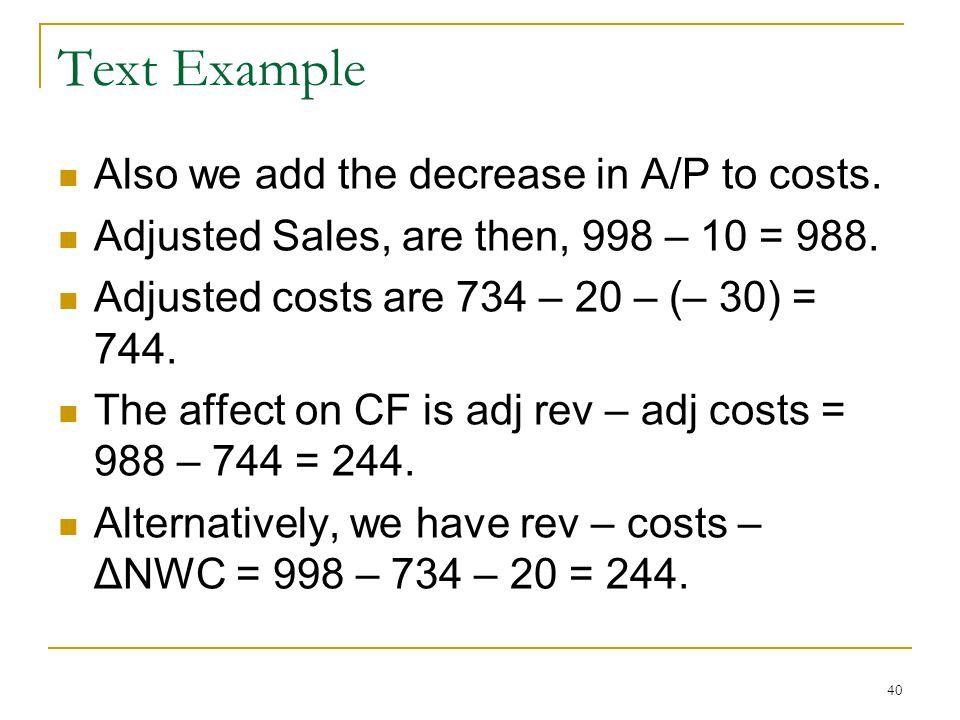 Text Example Also we add the decrease in A/P to costs.