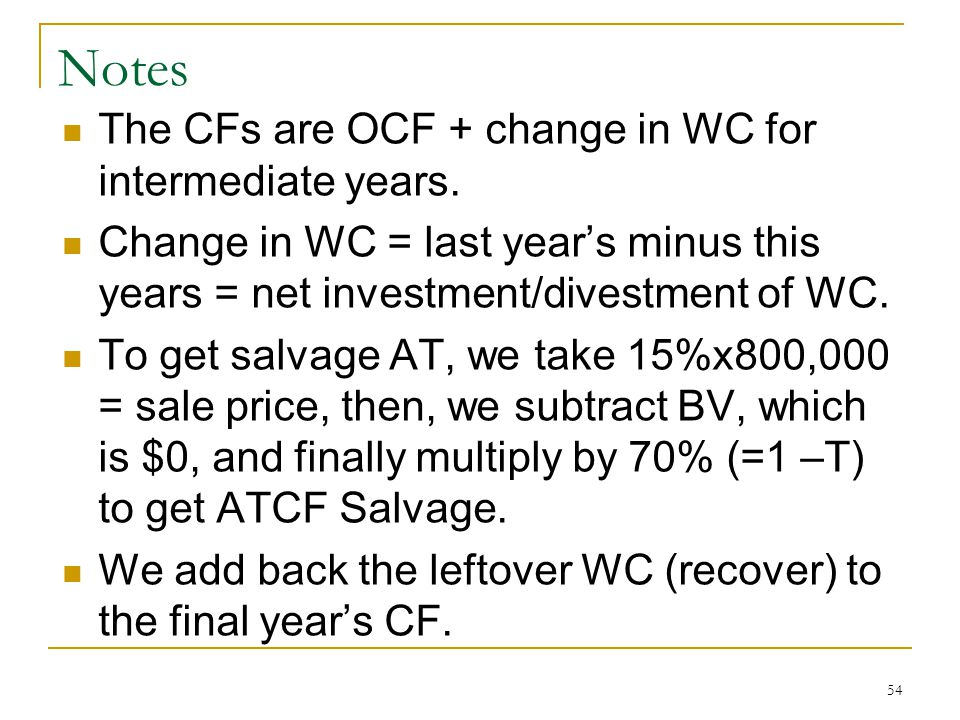 Notes The CFs are OCF + change in WC for intermediate years.