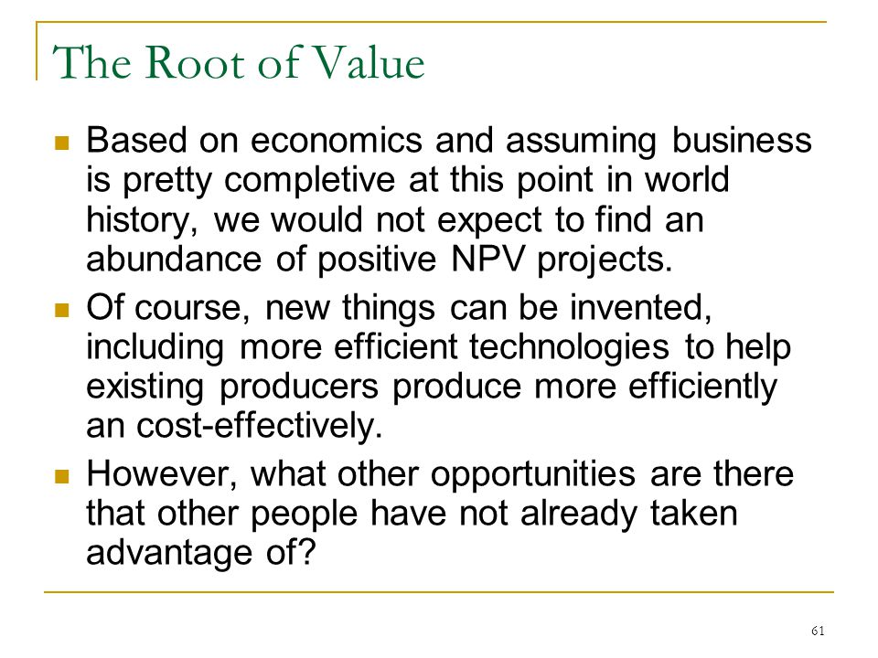 The Root of Value
