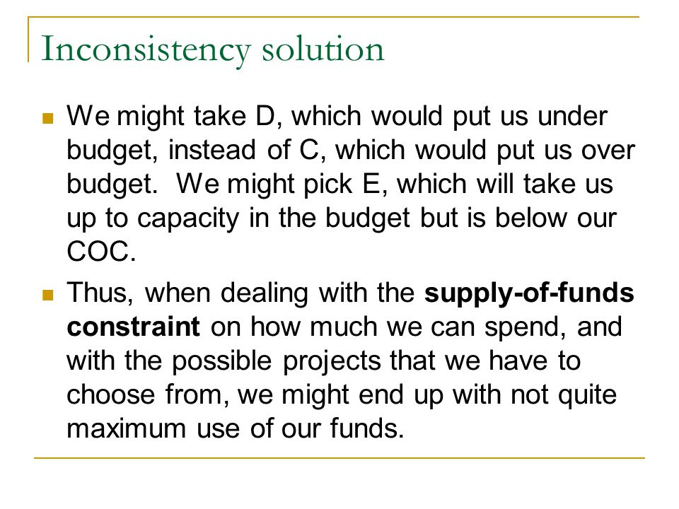Inconsistency solution