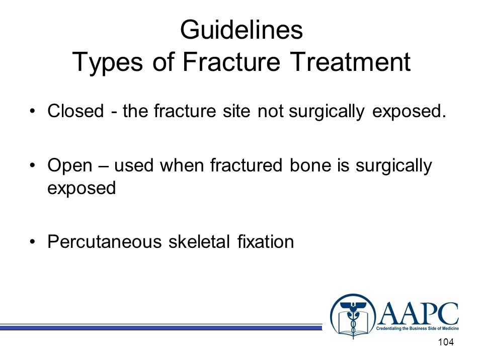 Guidelines Types of Fracture Treatment