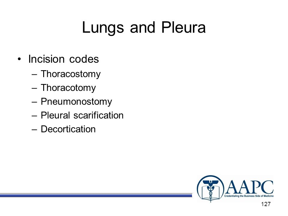 Lungs and Pleura Incision codes Thoracostomy Thoracotomy Pneumonostomy