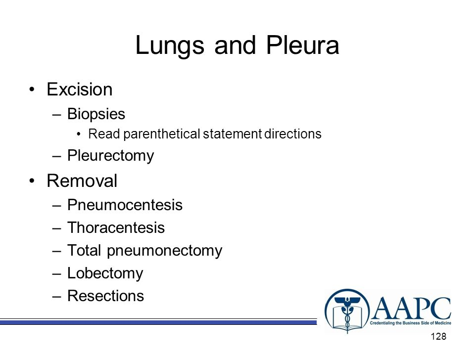 Lungs and Pleura Excision Removal Biopsies Pleurectomy Pneumocentesis