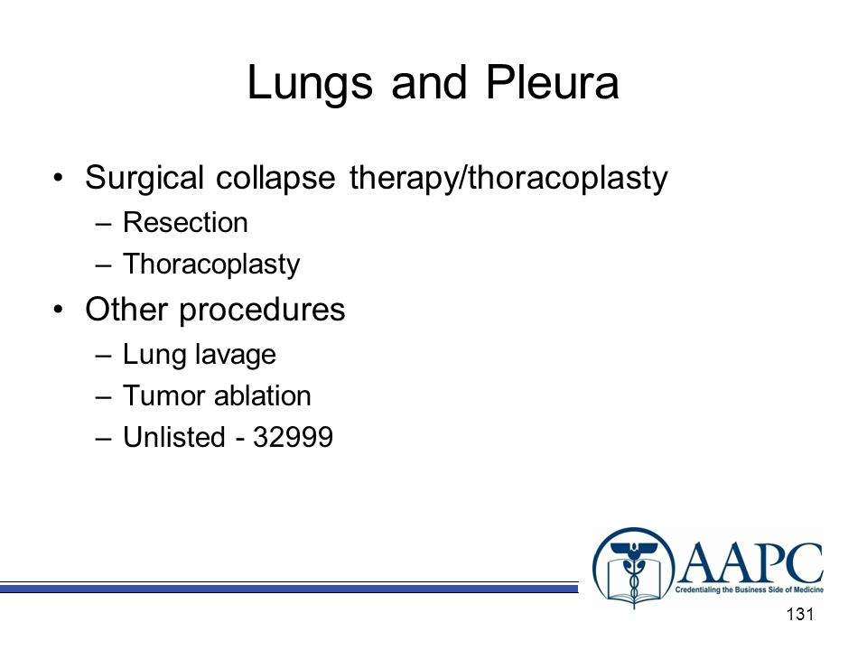 Lungs and Pleura Surgical collapse therapy/thoracoplasty
