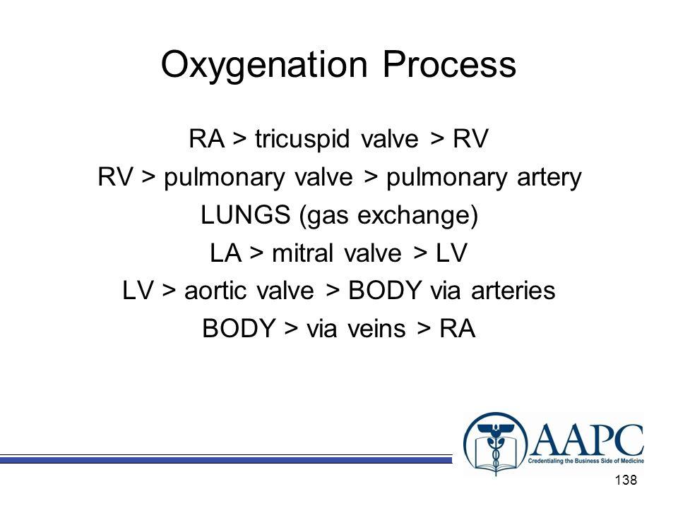 Oxygenation Process RA > tricuspid valve > RV