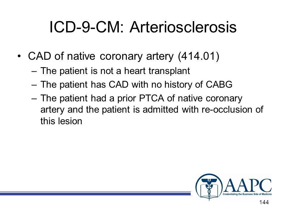 ICD-9-CM: Arteriosclerosis