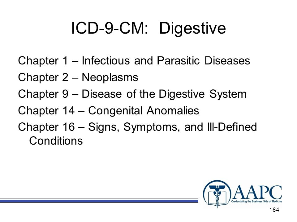 ICD-9-CM: Digestive Chapter 1 – Infectious and Parasitic Diseases