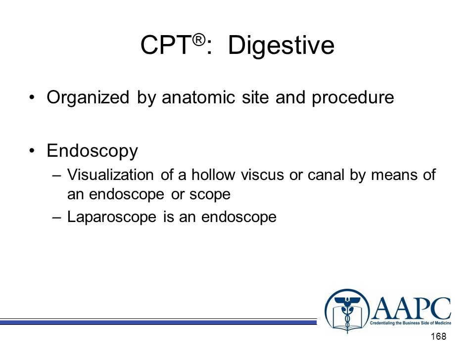 CPT®: Digestive Organized by anatomic site and procedure Endoscopy