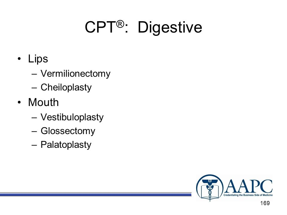 CPT®: Digestive Lips Mouth Vermilionectomy Cheiloplasty
