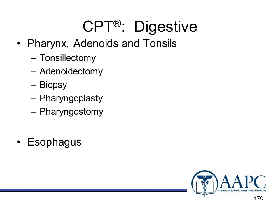 CPT®: Digestive Pharynx, Adenoids and Tonsils Esophagus Tonsillectomy