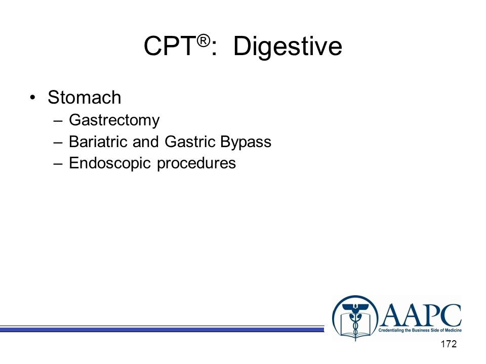 CPT®: Digestive Stomach Gastrectomy Bariatric and Gastric Bypass