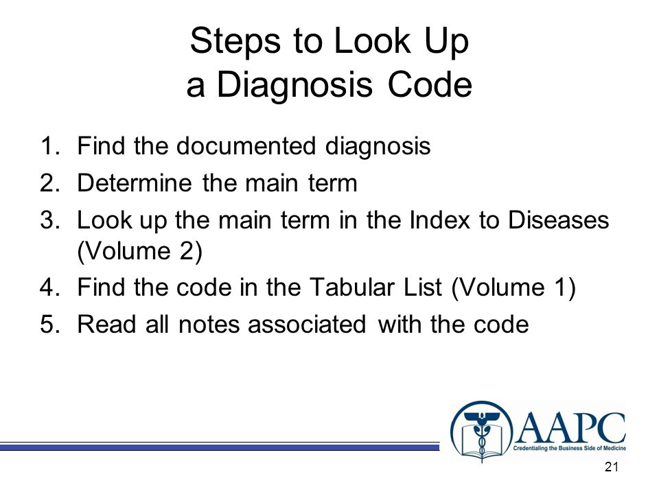 Steps to Look Up a Diagnosis Code