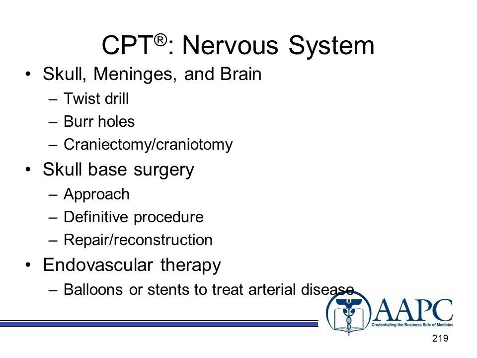 CPT®: Nervous System Skull, Meninges, and Brain Skull base surgery
