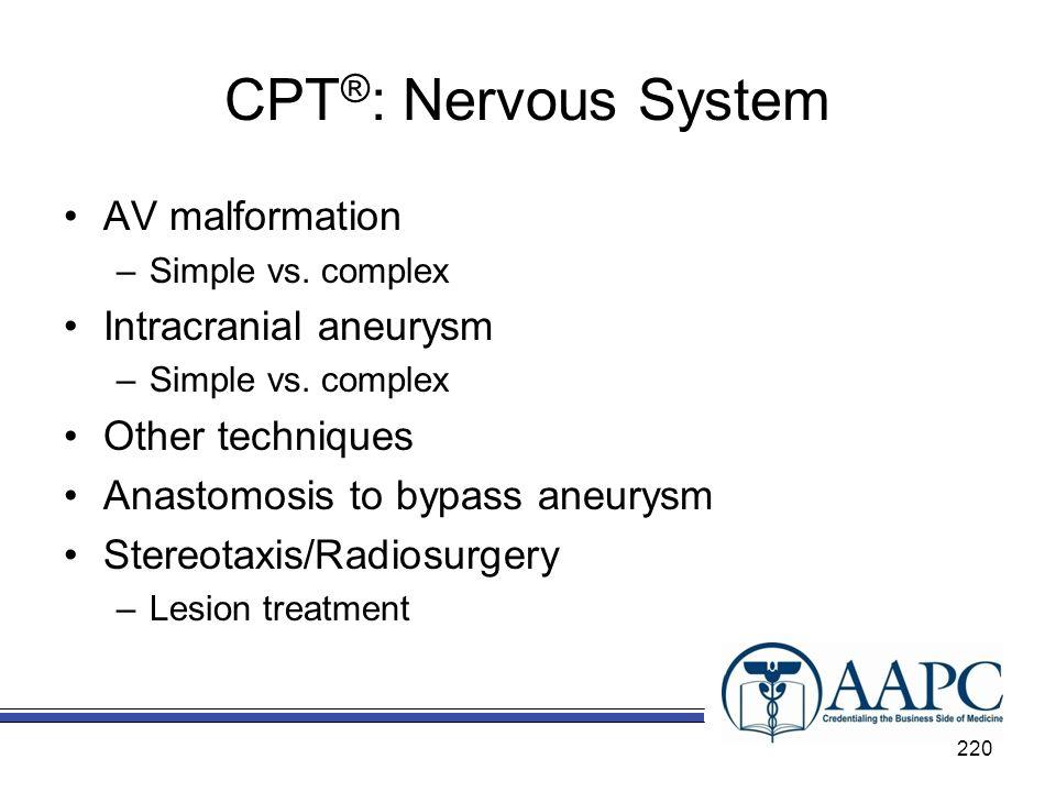 CPT®: Nervous System AV malformation Intracranial aneurysm
