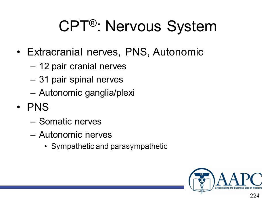 CPT®: Nervous System Extracranial nerves, PNS, Autonomic PNS