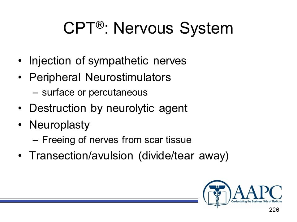 CPT®: Nervous System Injection of sympathetic nerves