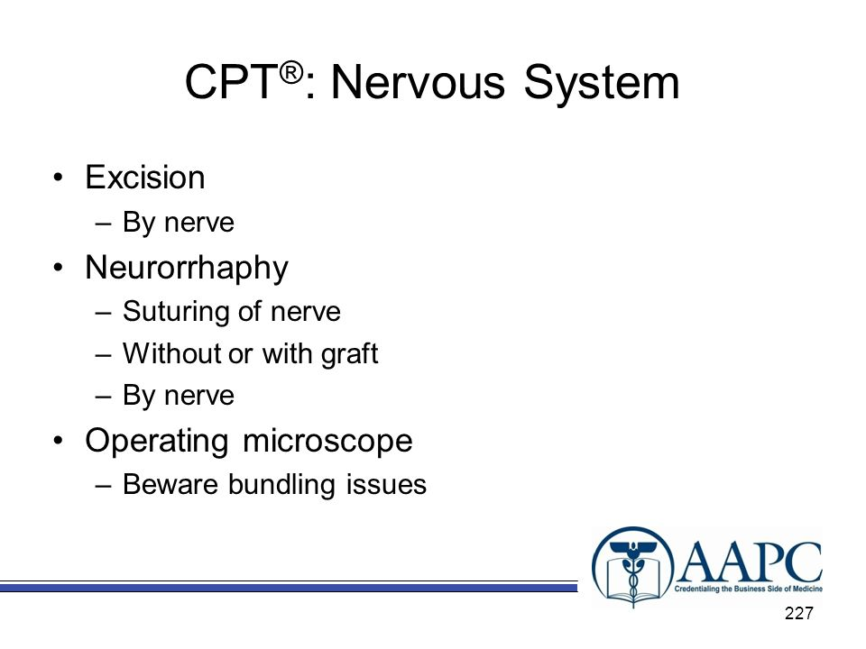 CPT®: Nervous System Excision Neurorrhaphy Operating microscope