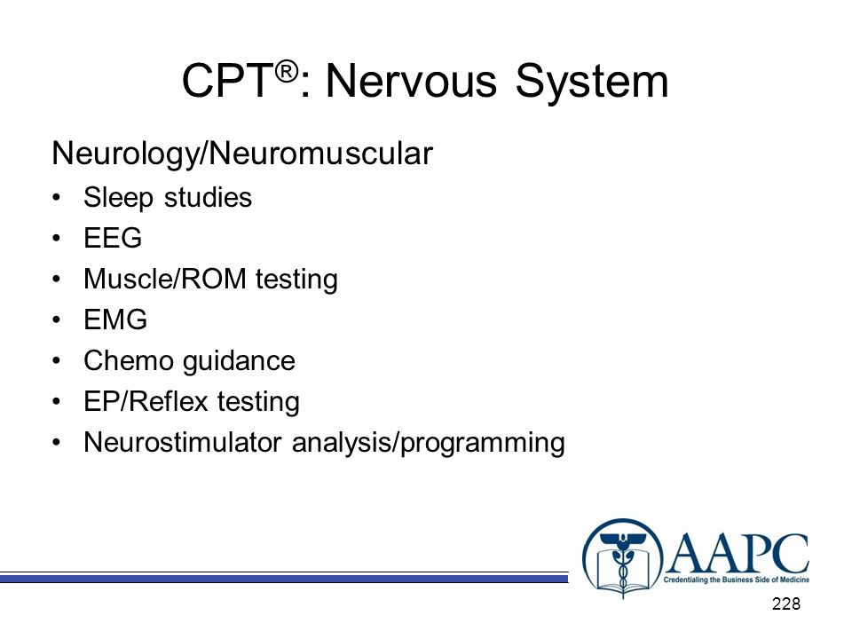 CPT®: Nervous System Neurology/Neuromuscular Sleep studies EEG
