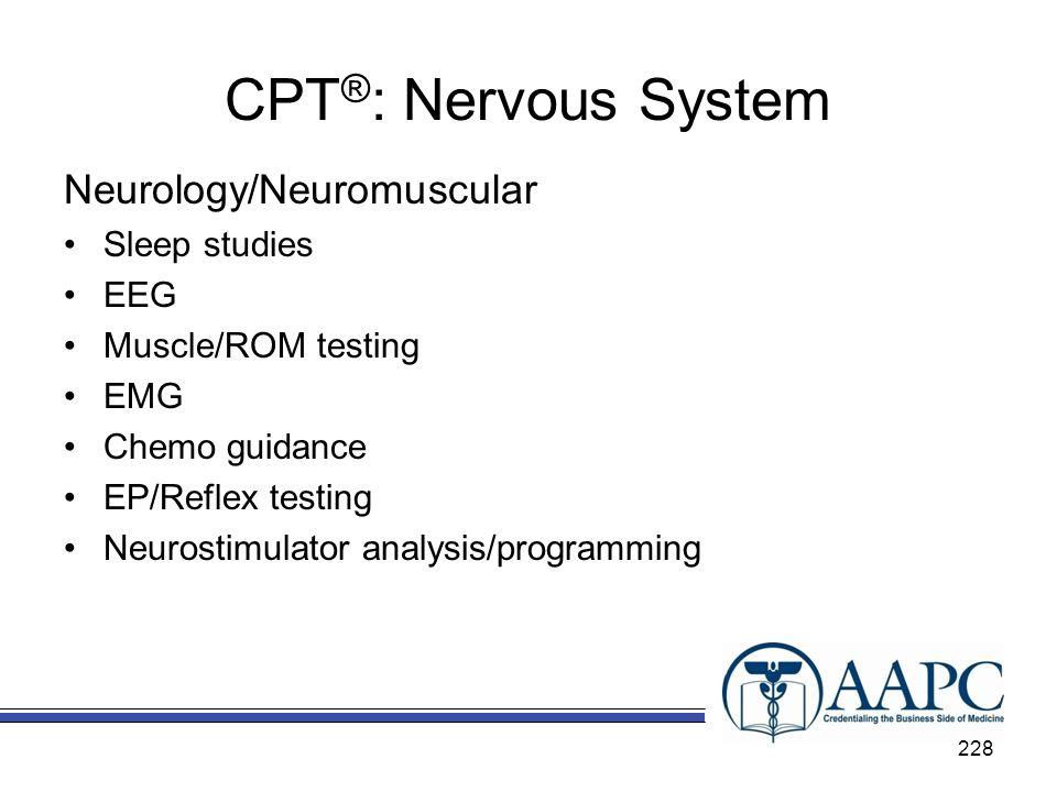 CPT®: Nervous System Neurology/Neuromuscular Sleep studies EEG