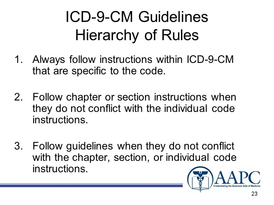 ICD-9-CM Guidelines Hierarchy of Rules