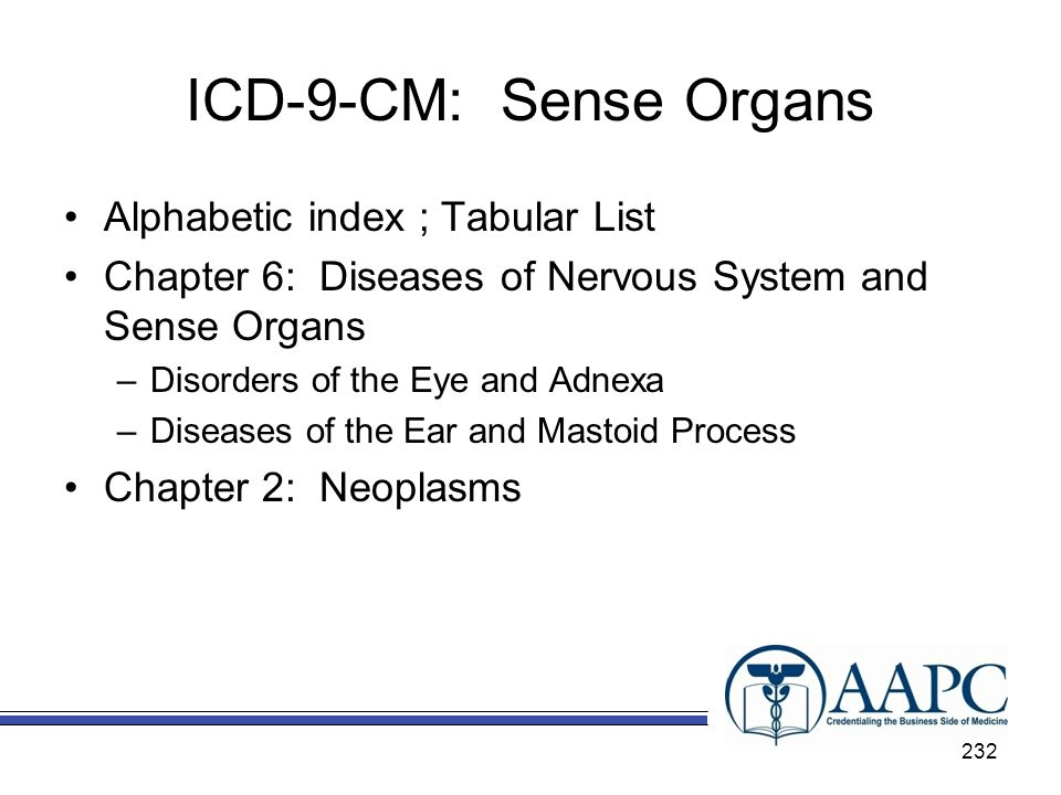ICD-9-CM: Sense Organs Alphabetic index ; Tabular List