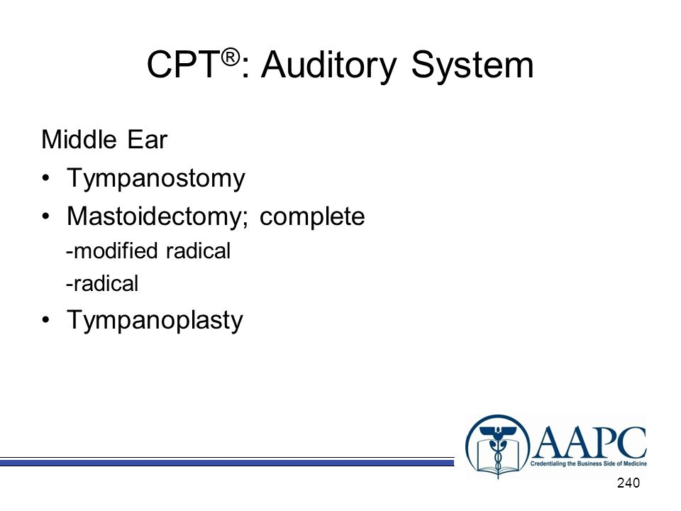 CPT®: Auditory System Middle Ear Tympanostomy Mastoidectomy; complete